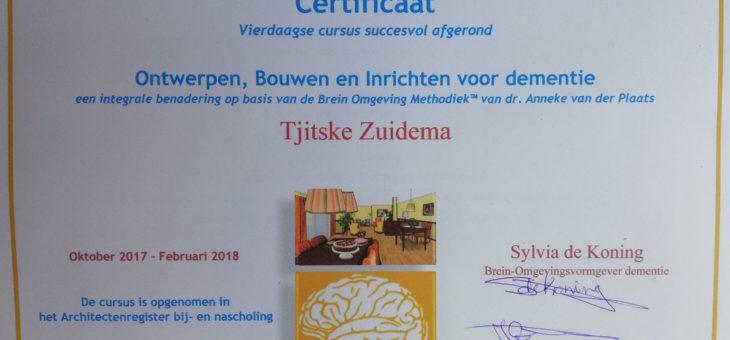 """certificaat  """"ontwerpen, bouwen en inrichten voor dementie"""" behaald"""